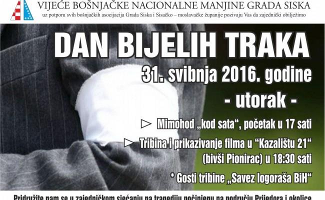Poziv na obilježavanje Dana bijelih traka u Sisku, u utorak 31.svibnja 2016.