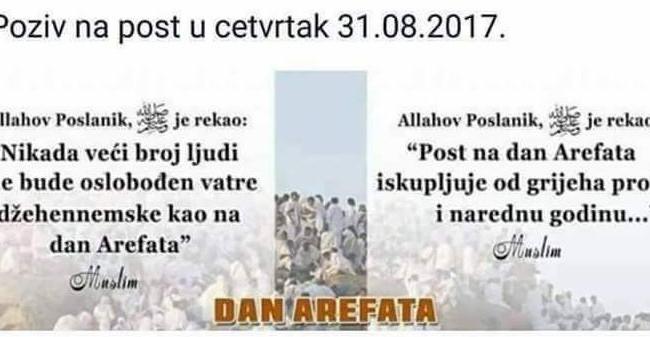 NE PROPUSTITE POST NA DAN AREFATA (31.08.2017.)