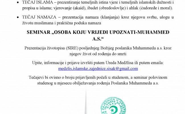 Poziv na edukativne tečajeve islama i seminar